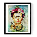 Nacnic Prints Frida Kahlo Poster with Art Definition in Spanish. with Watercolor Style and Blue Tones.