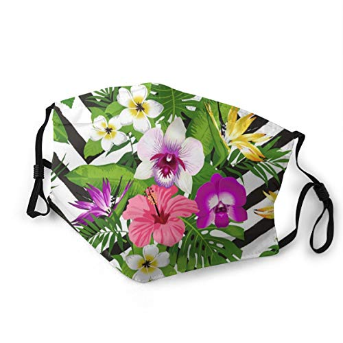 Doppelseitig bedruckter Mundschutz mit 2 Filtern, tropische Blume, Palmblatt auf Zick-Zack, waschbar, verstellbarer Gesichtsschutz für den täglichen Gebrauch Gr. 80, Schwarz