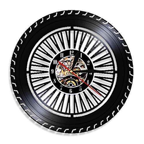 Reloj De Pared De Vinilo Reloj De Pared Con Ruedas Reloj De Ruedas Para Autos Antiguos Servicio De Autos Ventas Reparación De Garaje Señal De Registro De Vinilo Reloj De Pared Decorativo Con Led