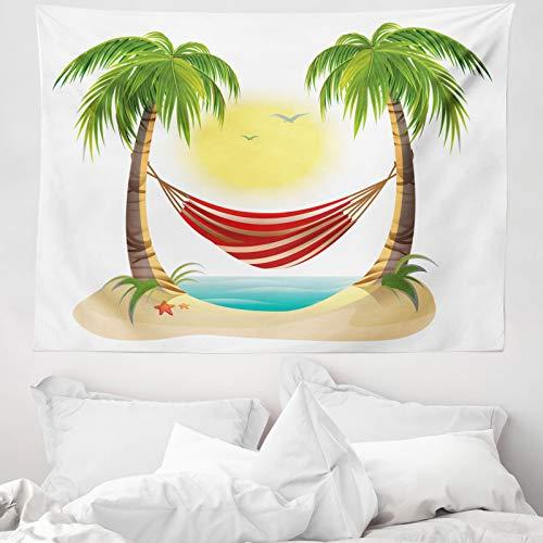 ABAKUHAUS Graphic Beach Wandtapijt, Hangmat tussen Palms, Stoffen Muurdecoratie voor Woonkamer Slaapkamer Slaapzaa, 150 x 110 cm, Veelkleurig