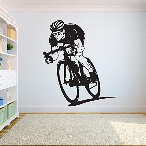 ganlanshu Vinilo Bicicleta estática Etiqueta de la Pared Dormitorio Dormitorio decoración habitación Motocicleta Pared Bicicleta estática niños niño Adolescente 50cmx42cm