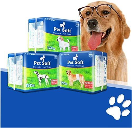 PickyanDco - Pannolini per cani da uomo, taglia XS, usa e getta per cani con vestibilità a prova di perdite, super assorbenti, perfetti per pannolini per cani maschi e incontinenza (12 pezzi)