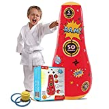 Whoobli Target Inflatable Kids Punching Bag, Inflatable Toy Punching Bag for Kids, Bounce-Back Bop Bag for Play, Boxing, Karate, Anger Management, Toys Age 3 4 5 6 7, Gifts for Kids 3-7 with Free Pump