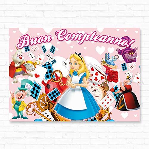 Poster in Carta Stampata Alta risoluzione cm L140 x H100 - Alice nel Paese delle Meraviglie