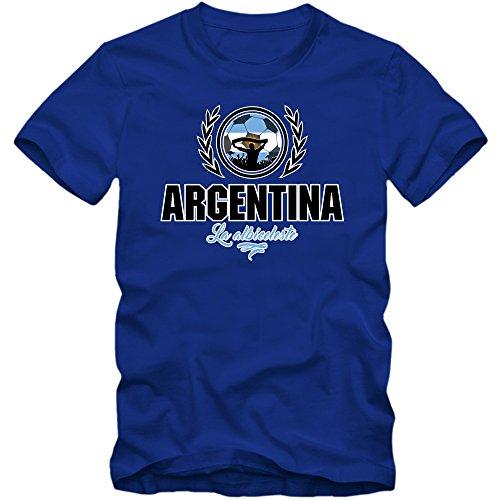 Shirt Happenz Fútbol Argentina V2 Camiseta | Hombre | Fútbol | La Albiceleste | Jersey | Equipo Nacional, Couleur:Blau (Royalblue L190);Taille:X-Large