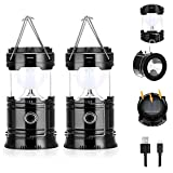 (2 Pack) Fulighture Solar Camping Lantern, LED Portable Flashlight, USB Charging, Ultra Bright Collapsible, Water Resistant, Suitable for Outdoor Hiking, Camping, Fishing, Emergencies, Outages(Black)