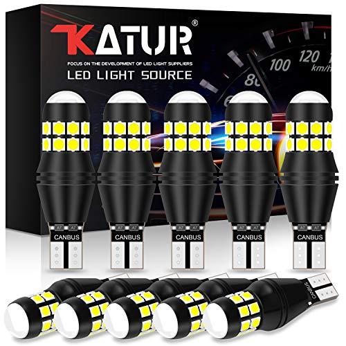 KATUR W16W 921 T15 912 LED Ampoule CANBUS sans Erreur sans polarité 6500K 3030 20SMD 12V 24V pour Feux de recul de feu de stationnement arrière de Voiture (10pcs, Blanc)