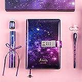 Diario, cuaderno de piel sintética, con cielo estrellado, diario de constelación con candado codificado, paquete de regalo, manual de 224 páginas