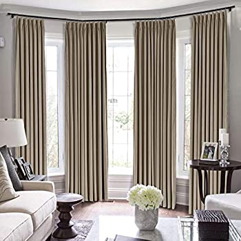 TWOPAGES Loft Curtains 144 Inch Long Velvet for Loft Thermal Insulated Curtains for Living Room/Bedroom Room Darkening Window Curtain  MJ11-9 Taupe 1 Panel 50Wx144L