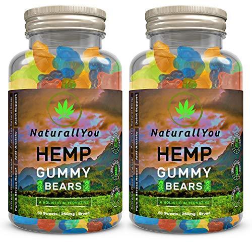 NaturallYou (2 Pack-120 Count) Jumbo Premium Natural Hemp Gummies for Anxiety | Calm Hemp Gummies Packed with Omega 3-6-9 | Multi Fruity Flavors Hemp Gummy Bears for Sleep | USA Made | Gluten Free