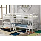 L-Shaped Bunk Bed Twin SizeTwin Over Twin L-Shaped Bunk Bed, Twin Size Solid Wood Bed Frame with Ladder, Safety Rail, Can Separate to 2 Twin Beds, (White)