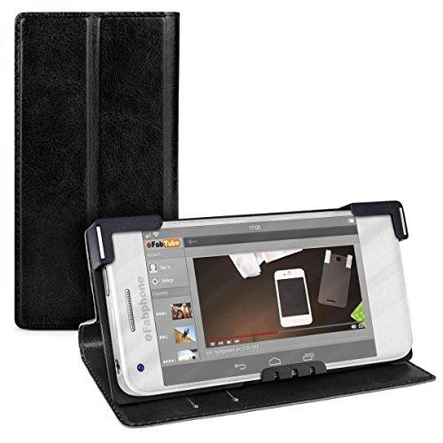 eFabrik Universal Smartphone Tasche 4 - 4.5 Zoll Schutz Hülle Hülle Handy Cover Schutztasche Schutzhülle Handyhülle Etui Leder-Optik schwarz