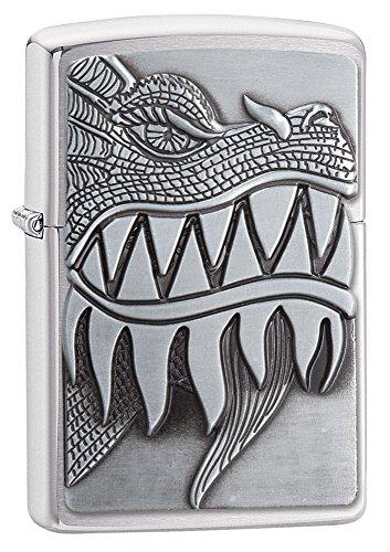 Zippo Fire Breathing Dragon Emblem Brushed Chrome Pocket Lighter