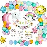 Aloces Decoración de cumpleaños, globos de confeti, juego de globos de sol, luna, nubes, arcoíris, globos, letras, globos, cumpleaños, festivales, decoración, guirnalda, globos, etc.