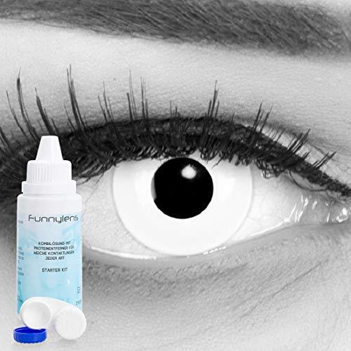 Farbige weisse weiße Kontaktlinsen crazy Kontaktlinsen crazy contact lenses Zombie Weiß White Out 1 Paar. Mit Linsenbehälter und mit 60ml Pflegemittel