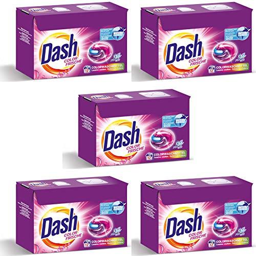Dash® Color Frische 3 in 1 Caps VORTEILSGRÖßE I 60 Waschladungen (5 x 12) I Waschmittel-Caps für bunte Wäsche I 3 in 1 Formel für Frische, Reinheit und Sauberkeit | 5 x 318 g