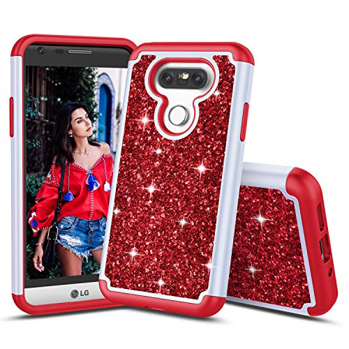 TILL for LG G5 Case, TILL Luxury [Sparkle Sequins] LG G5 H820 Bling Shiny Color Glitter Fashion Case Dual Layer TPU Soft Inner Hard PC Protective Cute Case Cover Shell for LG5 LS992 H830 5.3INCH [Red]