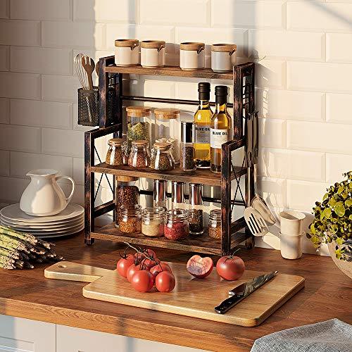 """Rolanstar Spice Rack Organizer with Wire Basket, 3-Tier 16.9"""" Kitchen Shelf Organizer Rack, Wooden Spice Organizer with 2 Hooks, Countertop Bathroom Storage Shelf , Seasoning Rack Rustic Brown"""