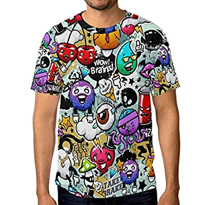 WIHVE Short Sleeve T-Shirt Graffiti Cartoon O-Neck Tops for Men