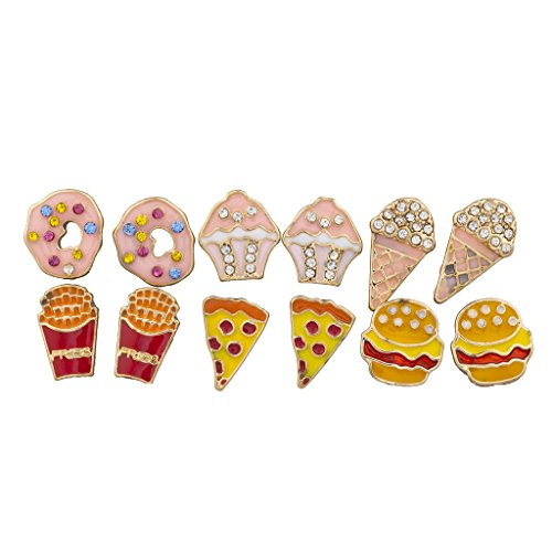Lux Accessories Gold Tone Desserts and Junk Food Novelty Multi Earring Set 6PC