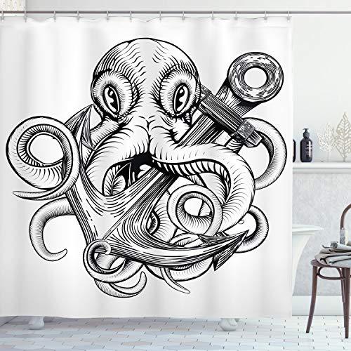 ABAKUHAUS Unterwasser- Duschvorhang, Krake-Schiff-Skizze, mit 12 Ringe Set Wasserdicht Stielvoll Modern Farbfest & Schimmel Resistent, 175x200 cm, Weiß Schwarz