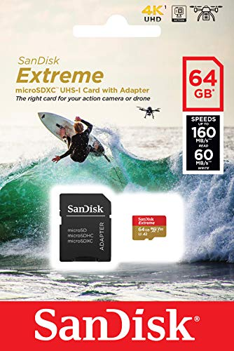 SanDisk Extreme 64 GB microSDXC Memory Card for Action Cameras and Drones with A2 App Performance up to 160 MB/s, Class 10, U3, V30