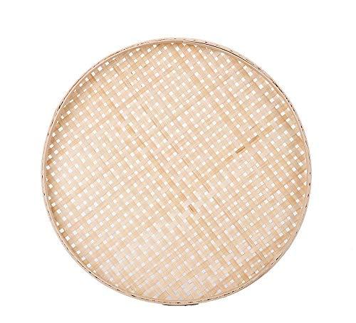 TimesFriend (Only by Bulk) 100% Handwoven Flat Wicker Round Fruit Basket Woven Food Storage Weaved Shallow Tray Bin Vegetable Organizer Holder Bowl Decorative Rack Display (18cm/7')