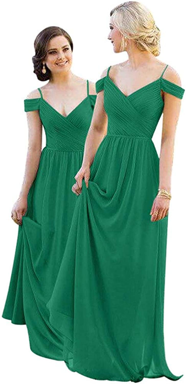 FeiYueXinXing Off The Shoulder Bridesmaid Dresses Spaghetti Strap Evening Prom Gowns