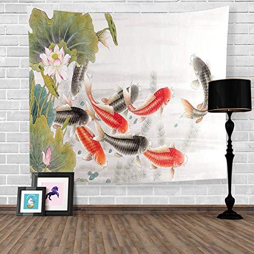 ZWBBO wandtapijt, wassen, schilderen, Lotus, vijver, karper, wandtapijt, decoratie (150 x 200 cm)