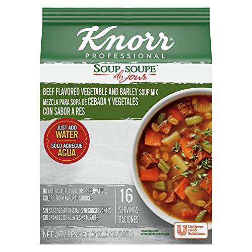 Knorr Professional Soup du Jour Beef Vegetable and Barley Soup Mix 0g Trans Fat per Serving, Just Add Water, 13.9 oz, Pack of 4