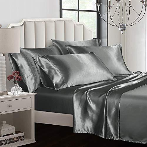AiMay Bettwäsche-Set, Satin-Jacquard-Seide, 100% luxuriöse, superweiche Mikrofaser mit Reißverschluss, modische Farbe mit elegantem Silber-Muster. King grau