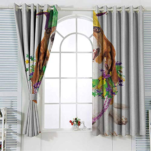 Mardi Gras Grommet Curtains for Girls Room Happy Smiling Basset Hound Dog Wearing a Jester Hat Neck Garland Bead Necklace Living Room Bedroom Window Drapes 42x63 Inch