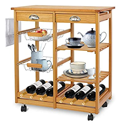 SUPER DEAL Multi-Purpose Wood Rolling Kitchen Island Trolley w/Drawer Shelves Basket from SUPER DEAL