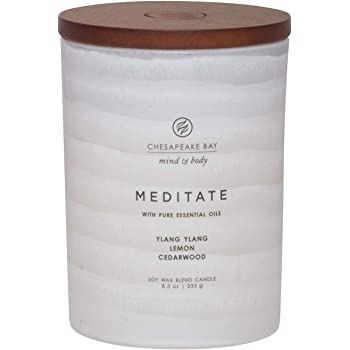 Chesapeake Bay Candle Mind & Body Serenity Scented Candle, Meditate with Pure Essential Oils (Ylang Ylang, Lemon, Cedarwood), Medium