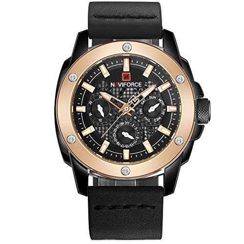 NAVIFORCE Mens Sports Watch Leather Band Date Luminous Casual Wristwatch Waterproof Black and Gold