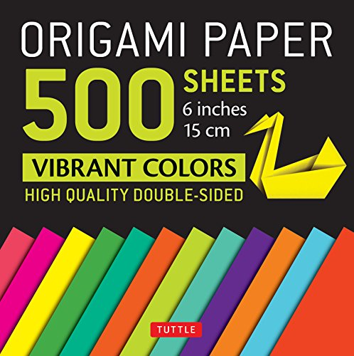"""Origami Paper 500 sheets Vibrant Colors 6"""" (15 cm): Tuttle Origami Paper: High-Quality Double-Sided Origami Sheets Printed with 12 Different Designs (Instructions for 6 Projects Included)"""