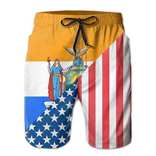 Zhengzho Herren Beach Board Shorts Amerikanische und New Yorker Flagge Leichte Badehose Neuheit Wassershorts Badeanzug