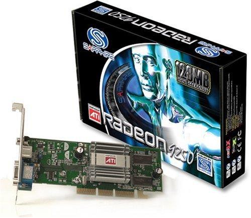 Sapphire RADEON 9250 128MB DDR 64BIT Grafikkarte AGP 8x/ ATI/ Radeon 9250/ 128 MB/ DDR/ 64 Bit/ GPU-Takt: 240 MHz/ GPU-Speicher Takt: 200 MHz/ Anschlüsse: DVI, VGA/ Features: Software/ Verpackung: L-Retail/ 4 Pipelines/ TVO/ RoHS compliant
