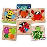 BeebeeRun Puzzles Bois Enfant 2 3 4 Ans,Jouet Enfant 2 Ans Garçon Filles,Bois Jouet Éducatif Noël Brithday Cadeau pour Bébé(6 Pièces)