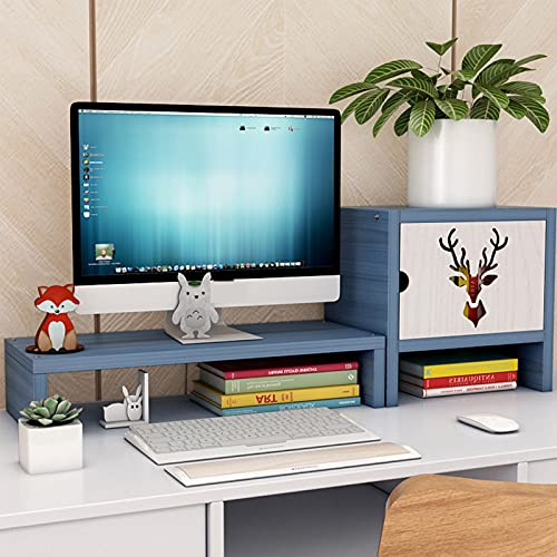 Monitor Stand Riser,Wooden Desk Monitor Stand,Keyboard Pen Storage with Drawer Multimedia Desktop Stand,for Office Desk Accessories-Blue. 1 Tier+Cabinet a