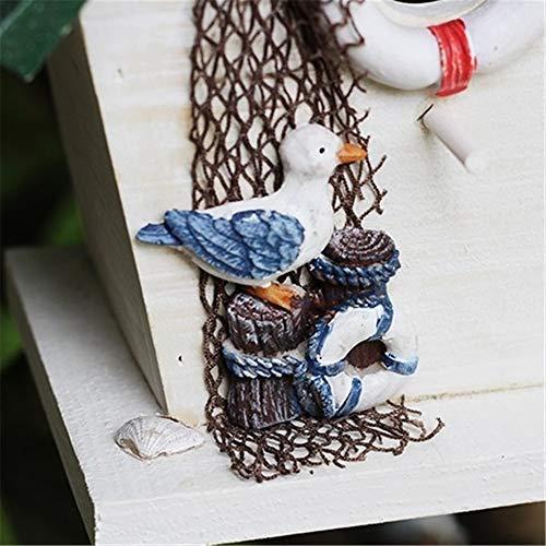 Casette Per Uccelli Verticale Mangiatoia for uccelli da esterno in piedi Cottage Bird House for piccoli uccelli Cabina Birdhouse Decorazione for esterni in legno Mangiatoia for uccelli Giardino creati