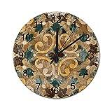 NANITHG Madera Reloj de Pared,Azulejos Azul Geométrico Vintage Italiano Marroquí Patrón Azulejos Antiguo Abstracto Diseño de cerámica,decoración de paredsin tictac