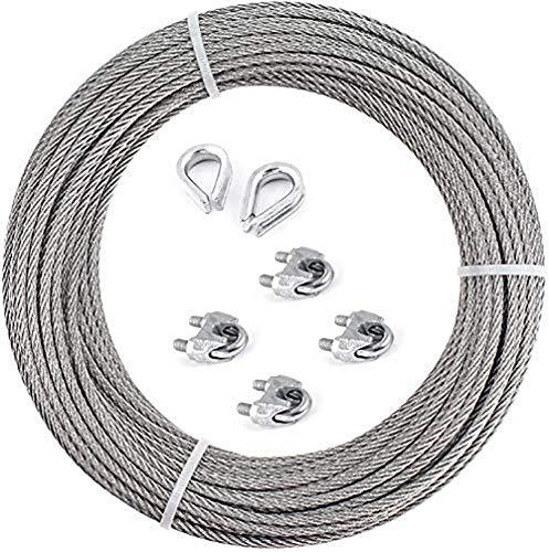 Cable acier galvanisé ,Corde en Acier à Suspendre Kit, Câble galvanisé 3 mm : 6 x 7 + 4 Clips + 2 Dé à coudre (20m)