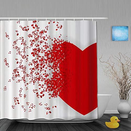 Popsastaresa Tenda da Doccia Design Stampato 3D,Adoro la Nota di Musica Romantica Che vola dagli Amanti del Cuore Rosso di San Valentino a Tema, con 12 Ganci di plastica 180 * 200cm