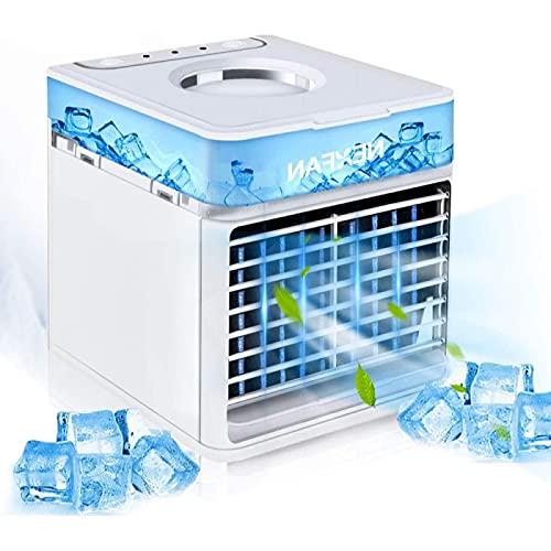 YANRU Enfriador De Aire USB Hielo - El Aire Purifica Enfriador De Aire Silencioso PequeñO - Bajo Consumo De EnergíA Ventilador Nebulizador - para Cualquier HabitacióN, Oficina, Viajes, Camping