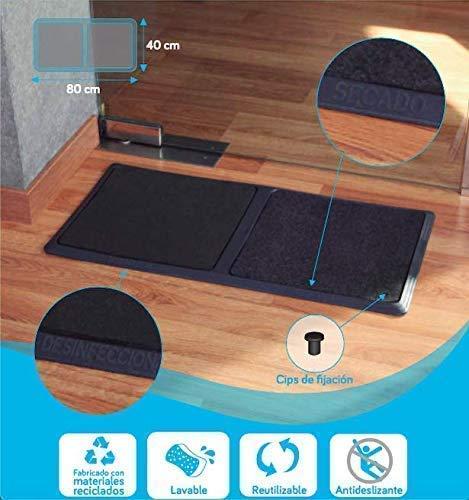 TIENDA EURASIA® Alfombra - Felpudo Desinfectante para la Entrada. Medida: 40 x 80 cm. Incluye 1 Base de Goma Antideslizante, 1 Esponja de Desinfección, 1 Moqueta de Secado