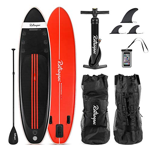 Retrospec Weekender-Tour 11ft Inflatable Stand Up Paddleboard Triple Layer Military Grade PVC iSUP Bundle w/Paddle Board Carrying case, Aluminum Paddle, Removable Nylon fins, Pump & Cell Phone case