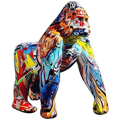 PDXGZ Estatua, Gorila Gigante Decoracion Resina, Decoración De Mono Gorila Pintado, Figuras De Decoración, Se Puede Colocar en el Escritorio/estantería/Mesa de Comedor
