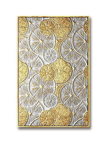 QWEWQE Impressions sur toile abstraite noire et dorée pour salon, chambre à coucher, sans cadre (D 50 x 75 cm)