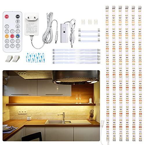 WOBANE LED Unterbauleuchte Küche,3m Dimmbar Unterschrank Beleuchtung mit Fernbedienung, für Küche, Schrank,Regale,Vitrinen ,2700K Warmweiß LED Streifen ,Ultra Hell 1500 Lumen,16W,12V Adapter,6er Set